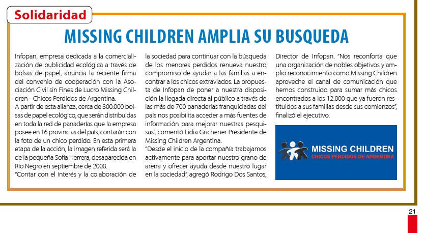 Missing Children amplia su busqueda | Infopan Solidario